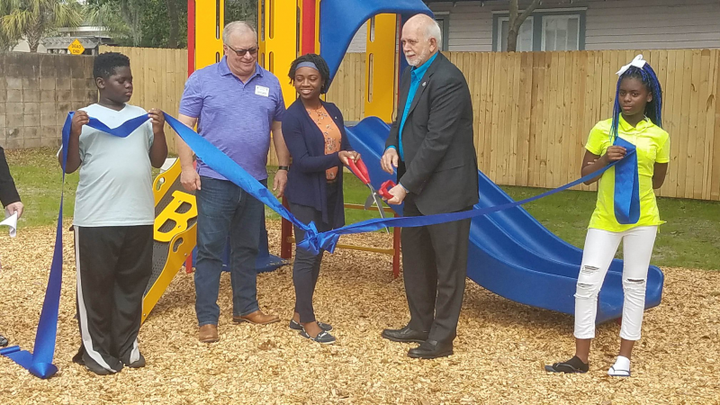 Rotaryact playground at St. Francis House with RI President Barry Raskin